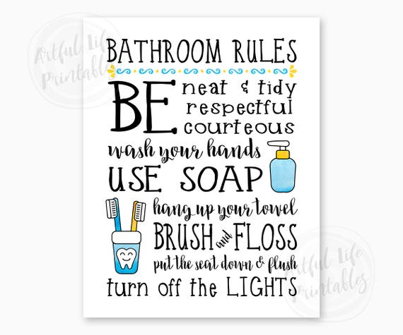 BATHROOM RULES Kids Bathroom Sign Family Bathroom Rules | Etsy