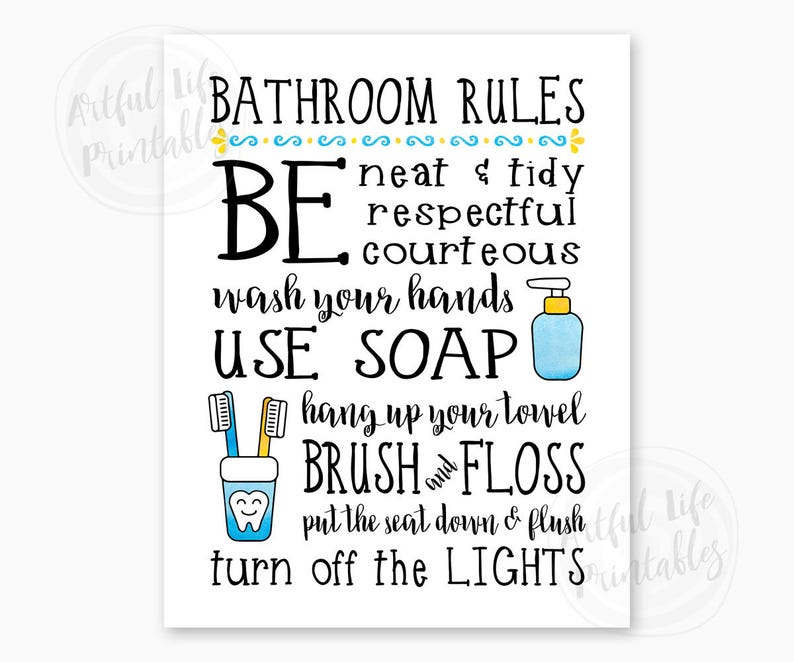 graphic relating to Printable Bathroom Etiquette Signs named Lavatory Legal guidelines, Youngsters Rest room Indicator, Family members Toilet Pointers, Rest room Wall Artwork, Toilet Decor, Rest room Printables, Quick Obtain