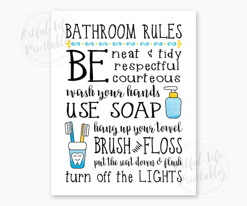 picture about Printable Bathroom Etiquette Signs referred to as Lavatory Legislation, Little ones Lavatory Signal, Relatives Rest room Legal guidelines, Rest room Wall Artwork, Lavatory Decor, Lavatory Printables, Immediate Obtain