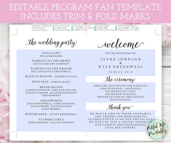 Wedding Program Fan Template Printable Programs DIY Fans Editable