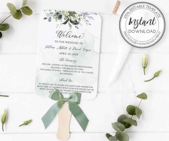 Instant Download Wedding Program Printable Editable Templett Greenery Wedding Program Fan Rustic Ceremony Program DIY Wedding Program