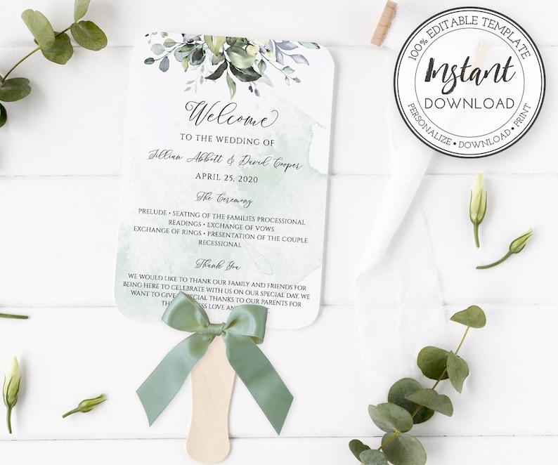 Wedding Program Fan Template, DIY Wedding Hand Fan, Ceremony Program Fan,  Watercolor Greenery, Outdoor Wedding Fan, Instant Download, W103
