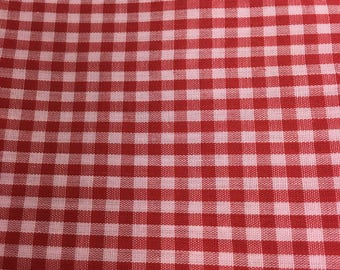 Red Tiny Gingham Vintage Cotton Fabric, Country Shirt Skirt Dress Fashion  Apparel, Tablecloth Napkins Apron Curtains Kitchen Home Decor
