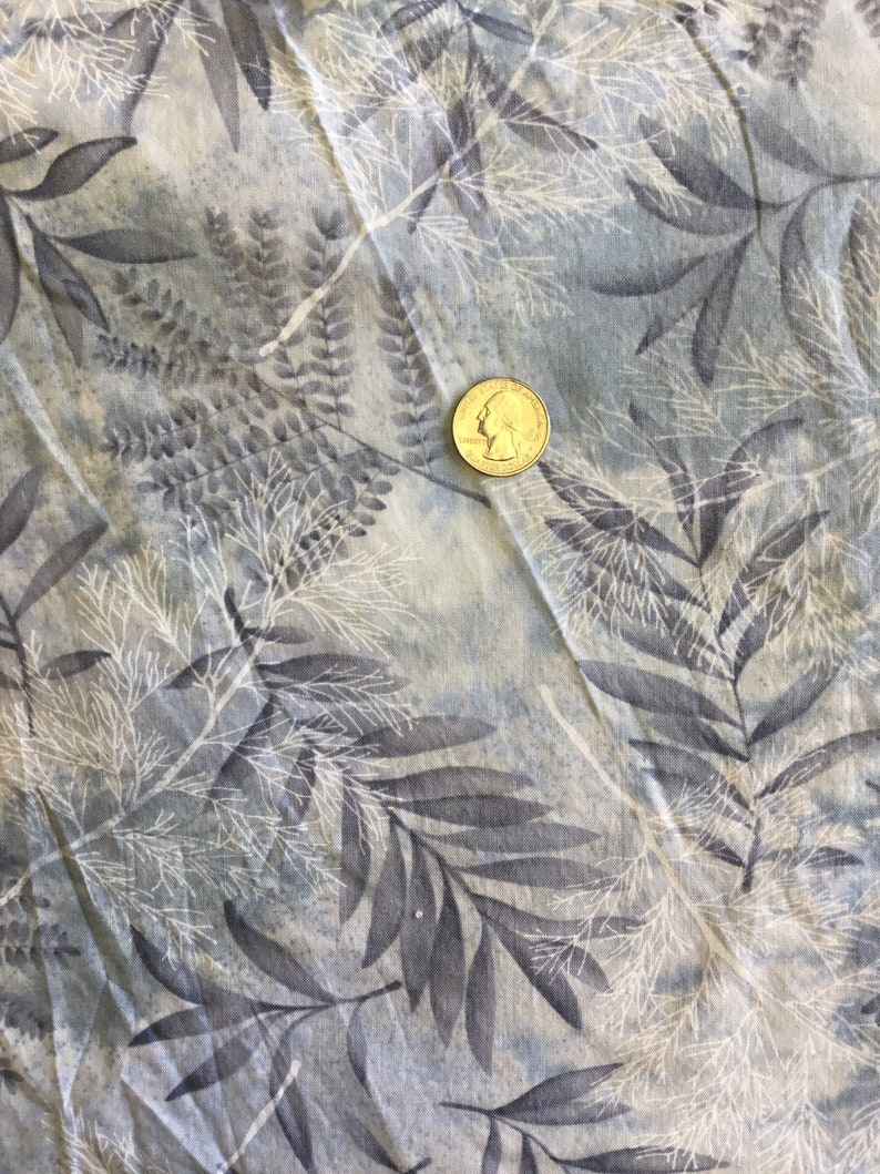 Timeless Treasures Fern Vintage Cotton fabric blue white gray plants summer caftan matching top pants contrast quilting crafts curtains