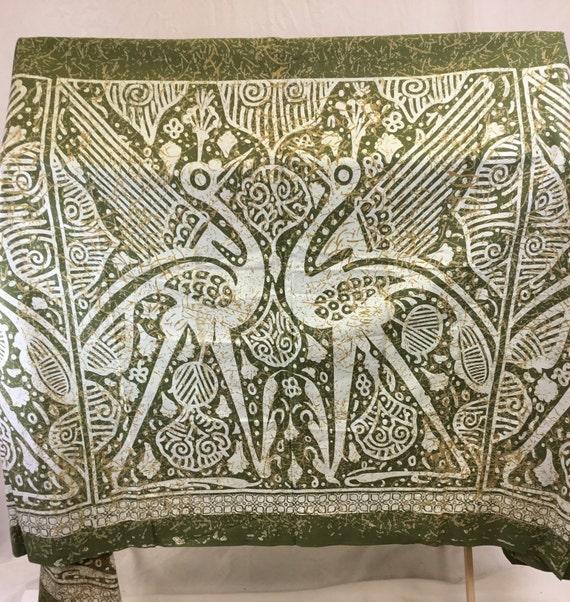 Vintage Retro Satin Metallic Brocade Fabric~ Birds Tree of Life ~Sea Blue Silver