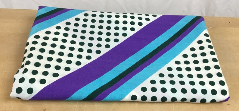 Vintage Cotton Stripe Polkadot Fabric light weight diagonal dark green aqua purple white dress blouse curtain quilting crafts pillow cover