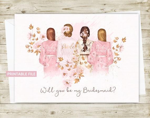 Bridesmaid Invitation Card Printable Bridesmaid Invite Will Etsy