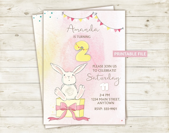 baby birthday invitation printable bunny digital baby girl etsy