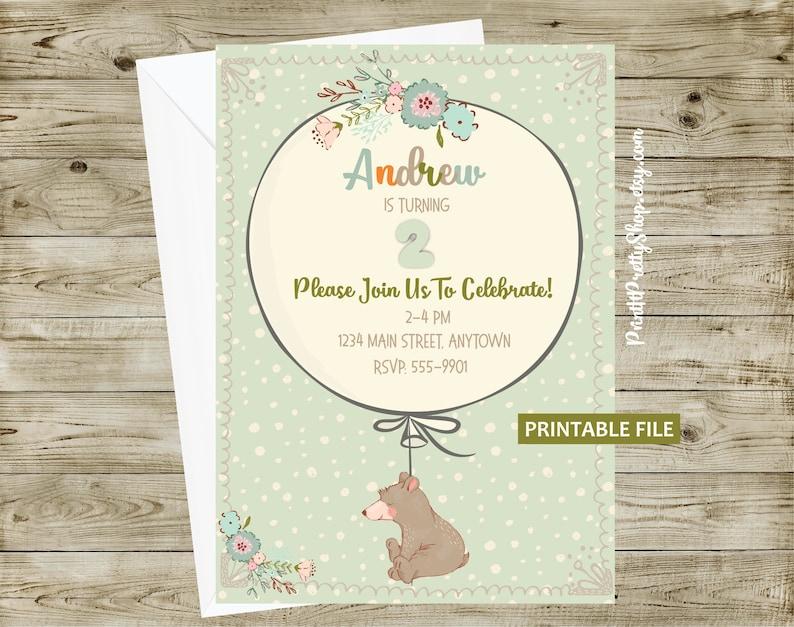 Baby Birthday Invitation PRINTABLE Bear Digital Boy
