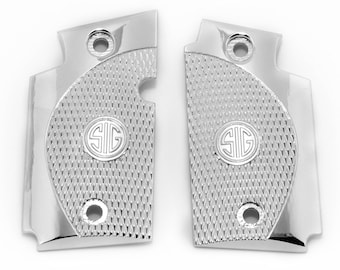 Sig Sauer P938 Custom Metal Checkered Grips Nickel Plated