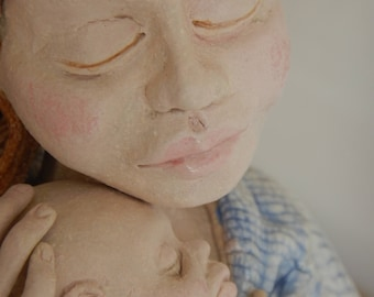 Ceramic Sculpture Mother and Baby Sleeping