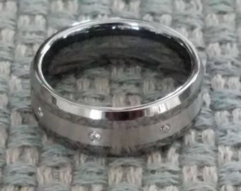 ARGENTO Polished Beveled Edge Tungsten Ring with 3mm Argentium Silver Inlay & Eight White Diamonds   8mm