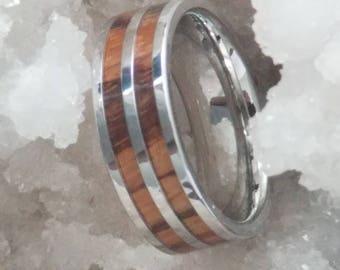 ABILA Flat Cobalt Band with Zebrawood Inlays and Polished Finish   8mm