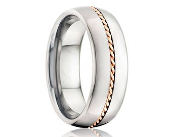 BEACON Domed Polished Tungsten Band with 1mm Hand Woven 14k Rose Gold Inlay   6mm & 8mm