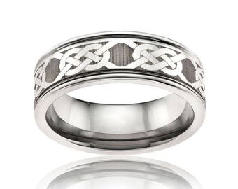EAMON Celtic Knot Laser Engraved Tungsten Band   6mm & 8mm