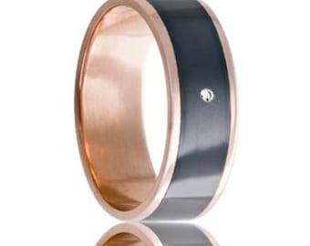 MONTAIGNE 14k Rose Gold Ring with Zirconium Center & White Diamond   8mm