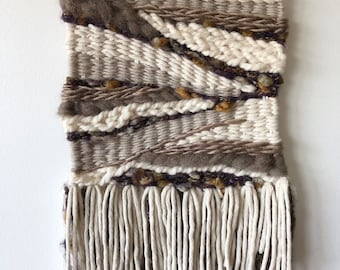 Tan and Purple Fringe Wall Weaving