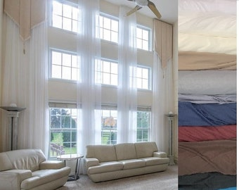 Extra long sheer voile curtains (2 PANELS) for high ceiling 10 16 17 18 -24 ft colors, custom made 110 inches wide 2 story drape FREE SWATCH