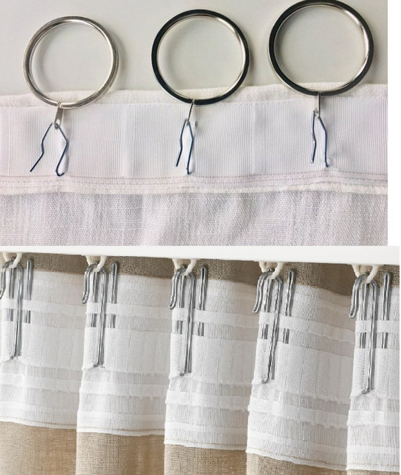 Add curtain tape with hooks for ceiling track system or rods with curtain rings , tape will be attached to the curtain.