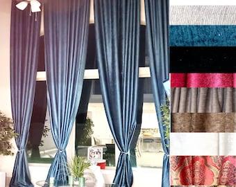 Extra Long VELVET/CHENELLE curtain drape Heavy Thick 14 15 16 17 18 20 24 ft Brown Green Silver Wine Beige custom made story Ikiriska