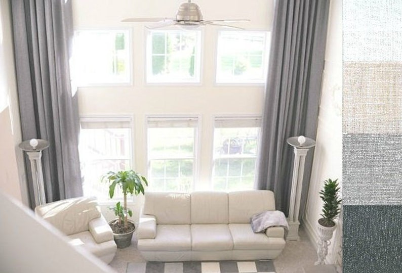 2 extra long natural linen curtains drapes custom made 10 12 | Etsy
