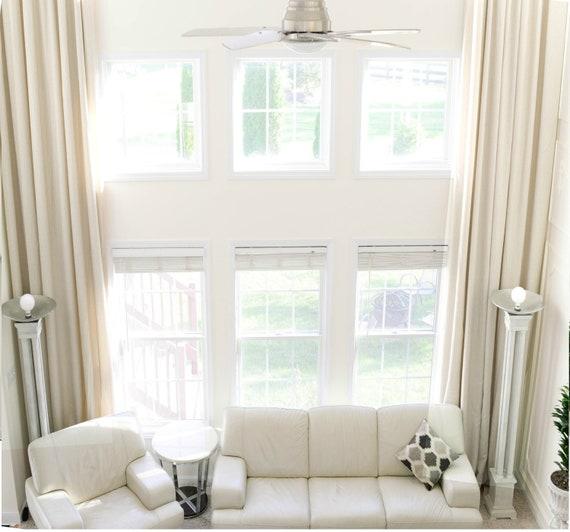 Extra long natural linen curtains drapes custom made 10 12 13 15 16 17 18 20, 24 feet Gray, White, Ivory, Beige 2 story FREE SWATCH Ikiriska