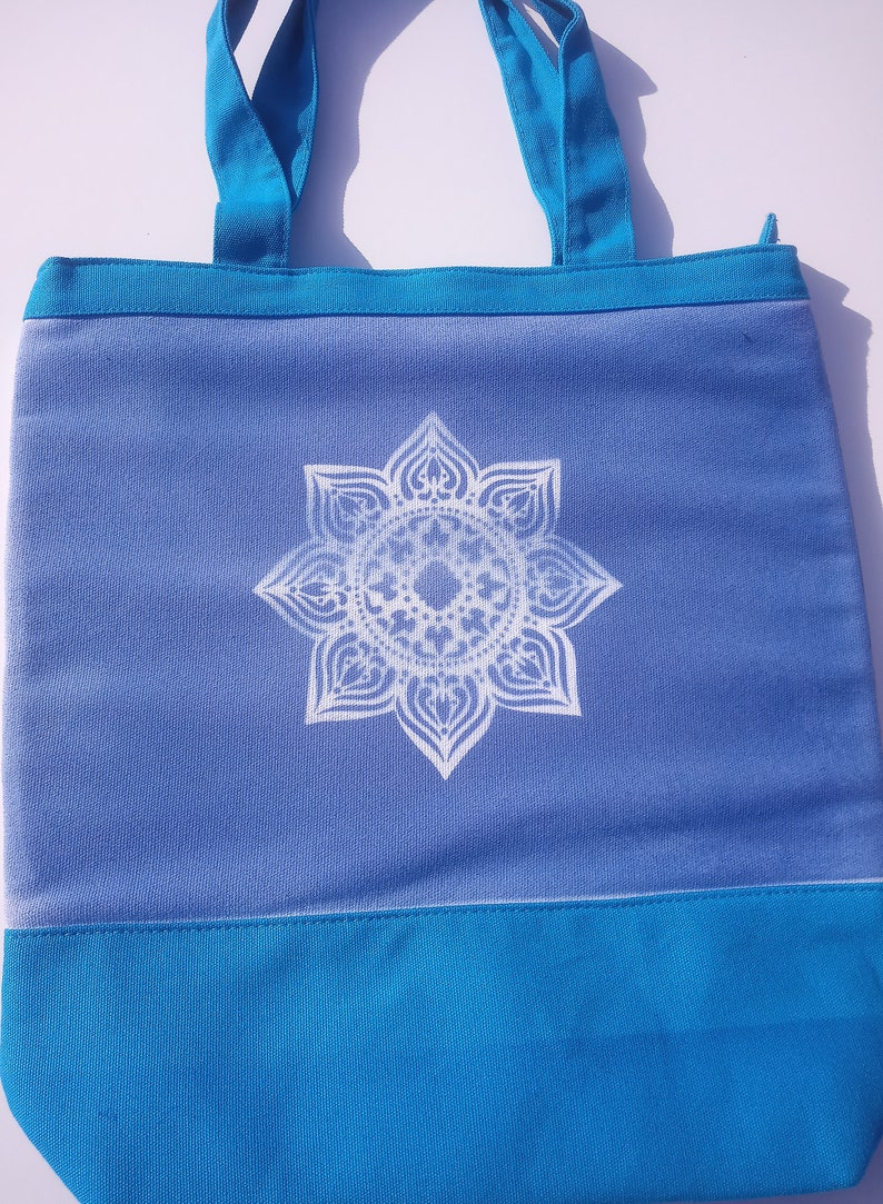 color changing canvas bag solar active beach handled fabric carryall insulated tote uv mandala