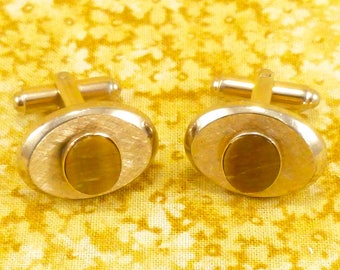 Vintage Dante cuff links - gold-toned metal, matte finish, and brown shell accents