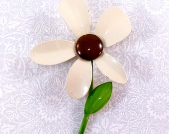 Vintage flower brooch - gold metal enameled with beige, brown, and green - flower power