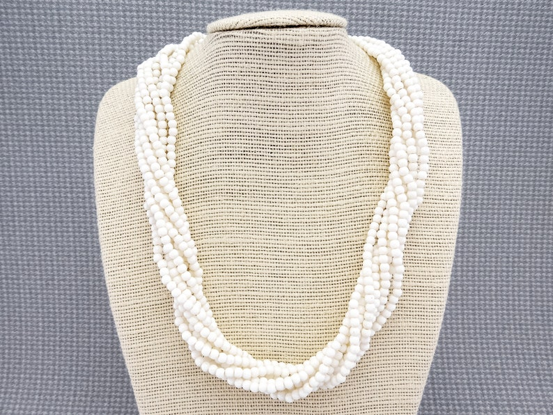 Vintage Twisted Multistrand Beaded Necklace With Round White Acrylic Beads and Gold-Toned Hook Clasp 1980s or 1990s
