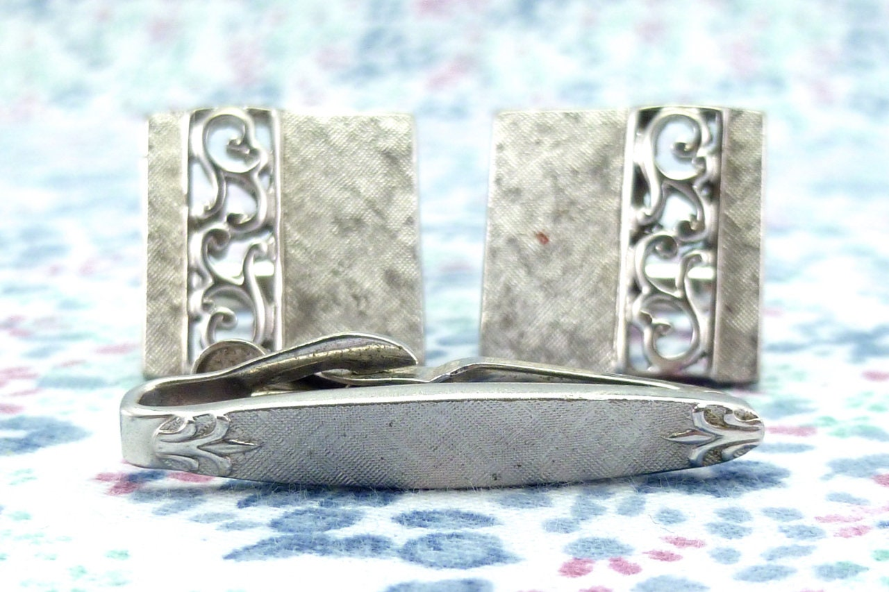 Silver Toned 50 Years Square Tie Clip
