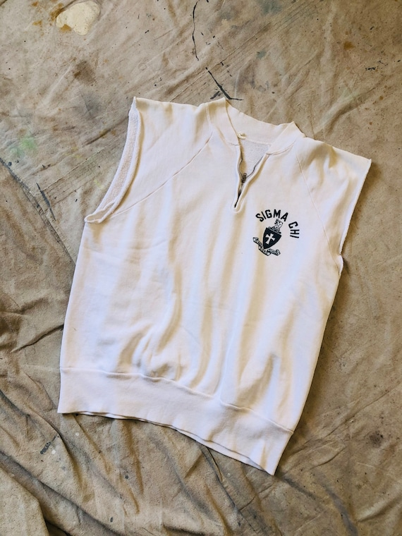 Vintage 1950s White Sigma Chi Quarter-zip Muscle T
