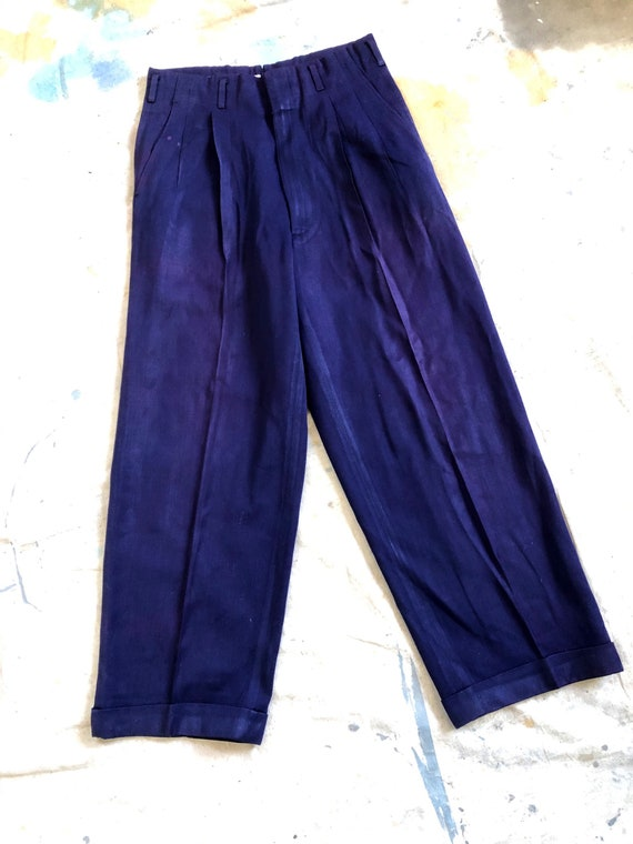 Glamorous Vintage 1950s Rayon Pleated Wide Leg Tro