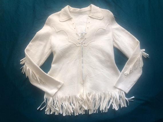 Vintage 1940s/50s Western Fringe Zip-Up Tunic Blou
