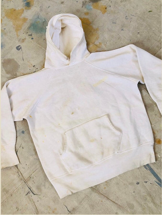 1950s Men's Ties, Bow Ties – Vintage, Skinny, Knit Vintage 1950S Distressed White Interlock Hoodie Sweatshirt $195.00 AT vintagedancer.com