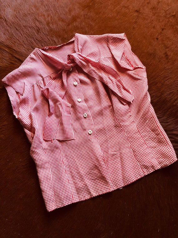 Vintage 1940s Cold Rayon Button Up Red Gingham Pus