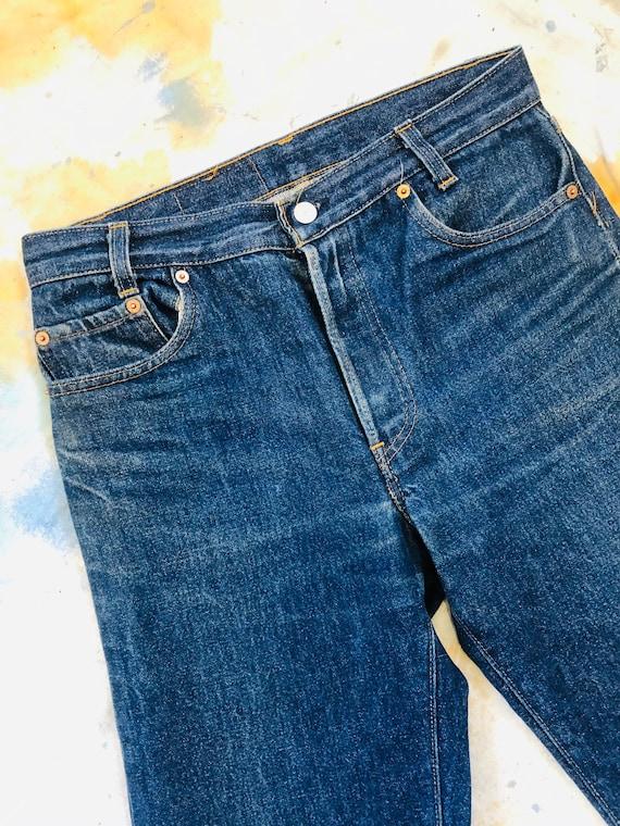 Rare Vintage 1970s Dark Wash Levis 701 Jeans Size… - image 3