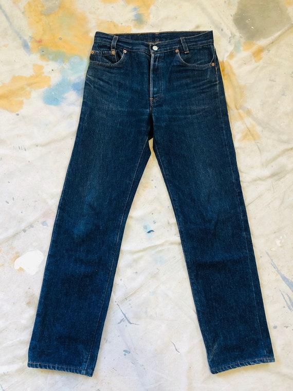 Rare Vintage 1970s Dark Wash Levis 701 Jeans Size
