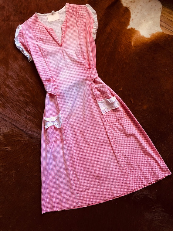 Rare Vintage 1930s Farm House Red Feedsack Dress