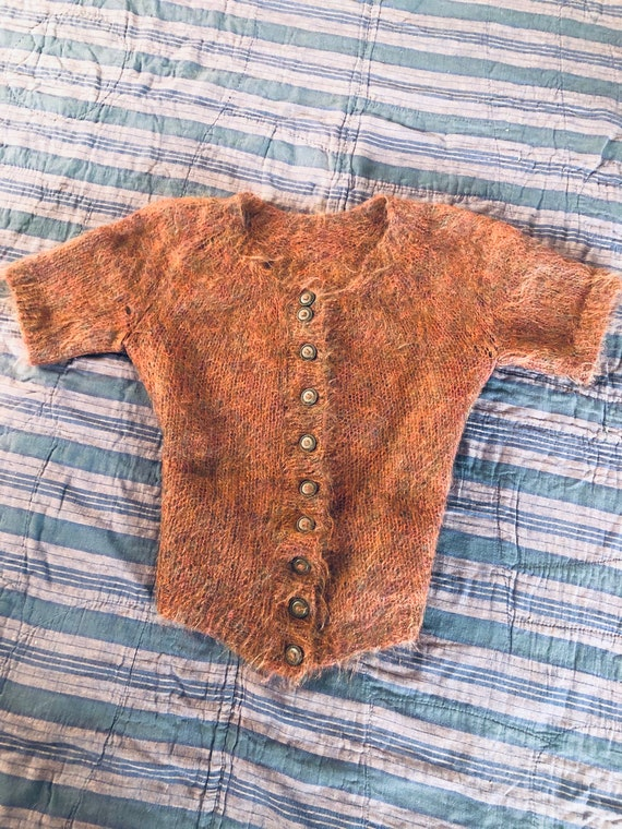 Vintage 1950s Autumnal Mohair Cardigan Sweater wit