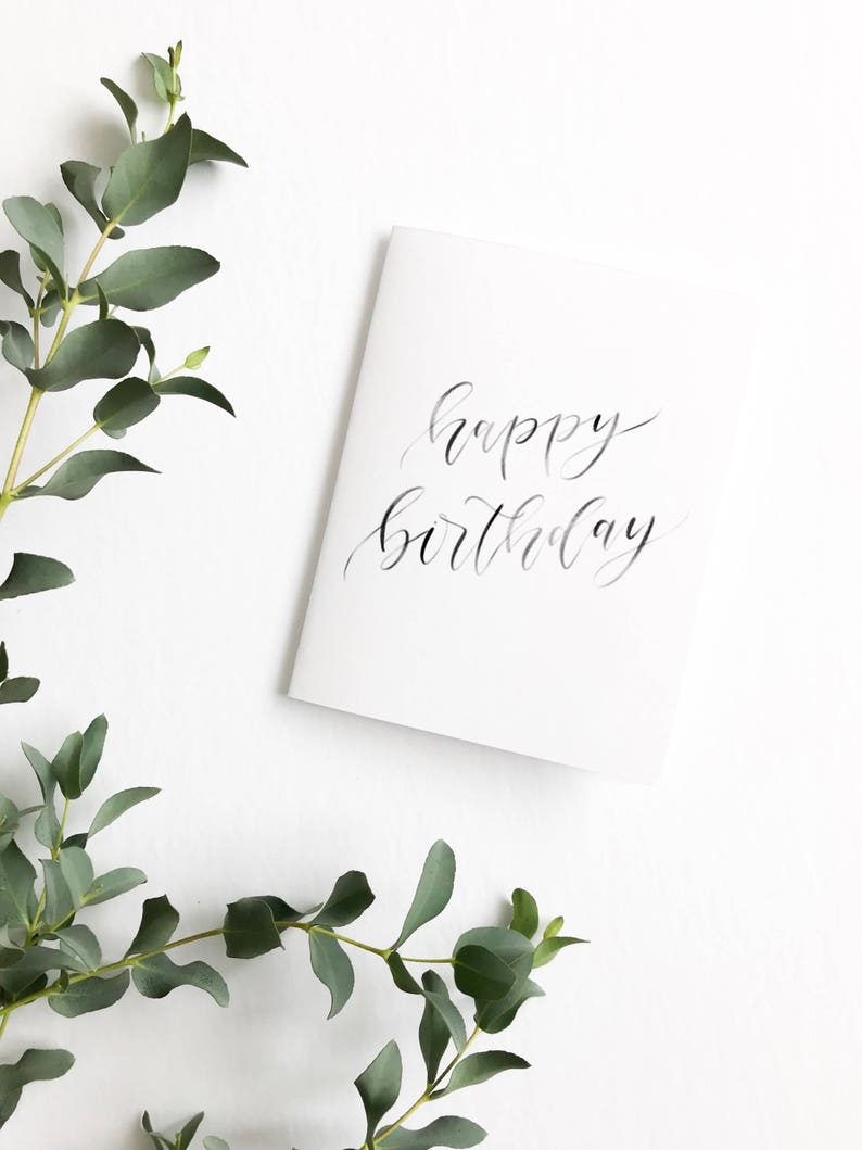 Birthday Card Happy Calligraphy Gift
