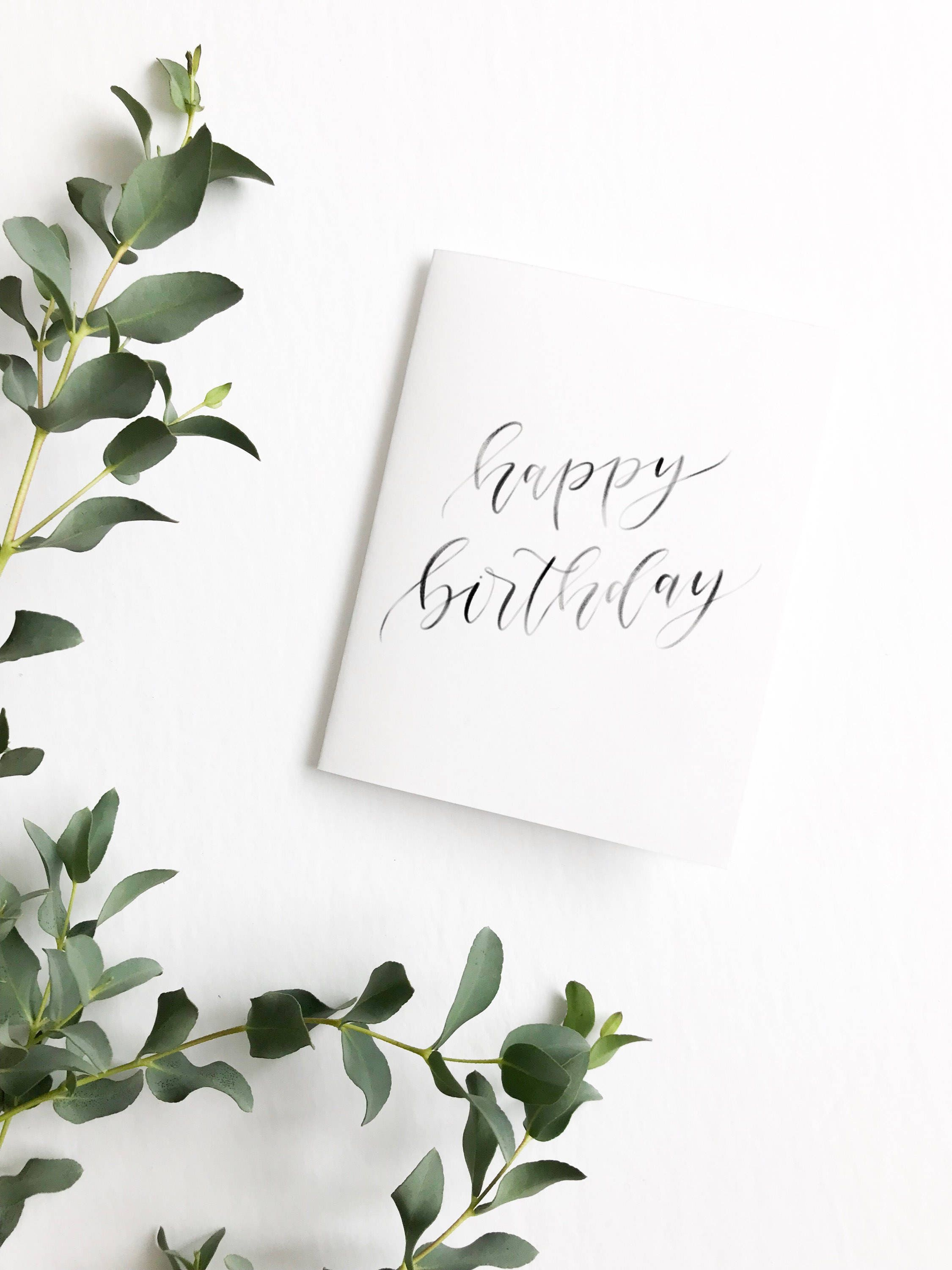 Birthday Card Happy Calligraphy Gift