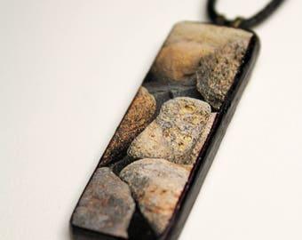 Beach Rocks #1 Wooden Pendant