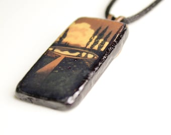 Reflecting Pool Wooden Pendant