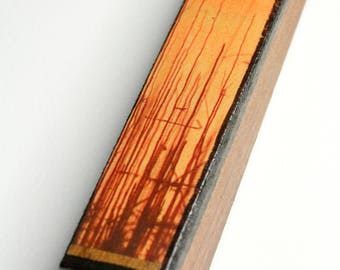 Bare Trees with Orange Sky Wooden Pendant