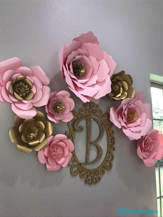 Pink And Gold Paper Flower Backdrop Set Gold Ornate Frame And Letter Set Pink Paper Flowers Ship In 3 To 5 Business Days