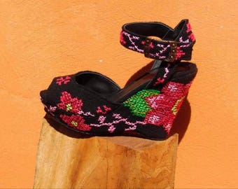 Hand embroidered floral black peep toe wedges