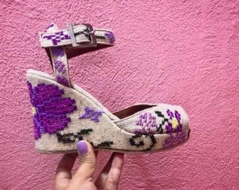 Hand embroidered purple floral peep toe wedges