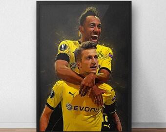 Marco Reus - Pierre-Emerick Aubameyang - Dortmund Poster - Borussia Dortmund - Soccer Poster - Soccer art - Football poster - Football Art