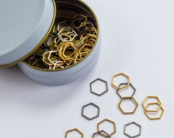 Set of 60 Hexagon Stitch Markers in stainless steel with gold and silver finish for snag free knitting in bonus white and gold storage tin